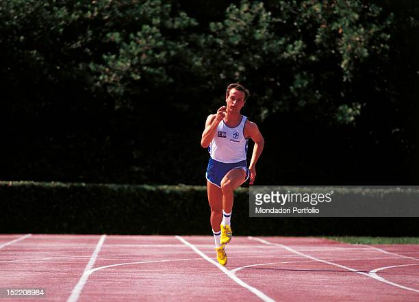 Italian runner Donato Sabia training during the Los Angeles Olympic Games Los Angeles 1984