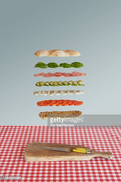 italian sandwich deconstructed - sausage sandwich stock pictures, royalty-free photos & images