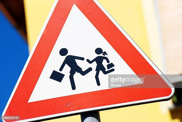 Italian school children crossing sign