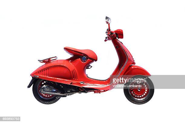 italian scooter on white background - moped stock photos and pictures