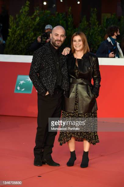 Italian screenwriter Ilaria Macchia with her partner Giuliano Sangiorgi, italian singer-songwriter, at Rome Film Fest 2021. The Eyes of Tammy Faye...