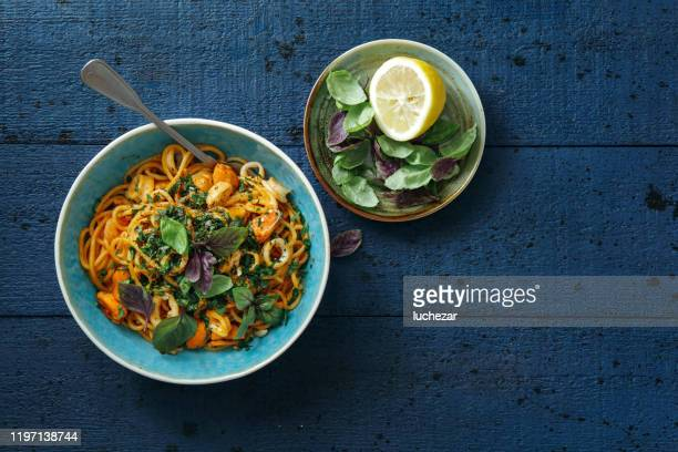 italian seafood pasta - shrimps stock pictures, royalty-free photos & images