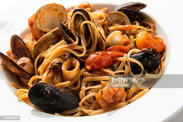 italian seafood pasta - marinara stock photos and pictures