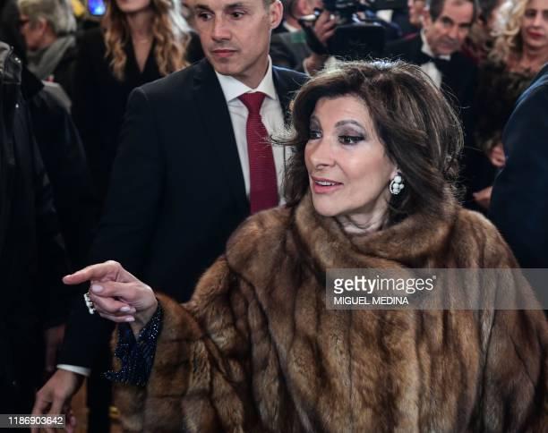 Italian Senate President Maria Elisabetta Alberti Casellati arrives for the Great Opening Night 2019 at La Scala Opera House marking the inauguration...