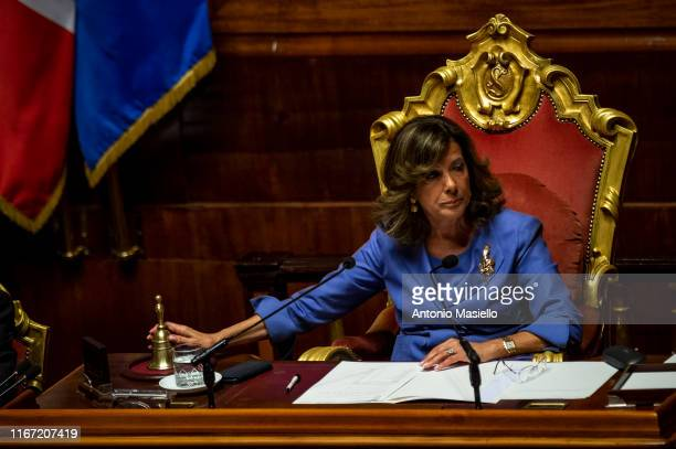 Italian Senate President Maria Elisabetta Alberti Casellati attends the confidence vote for the new government at the Italian Senate on September 10...