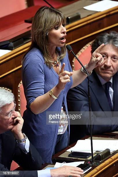 Italian Senator Alessandra Mussolini attends the confidence vote at the Senate on April 30 2013 in Rome Italy The new coalition government was formed...