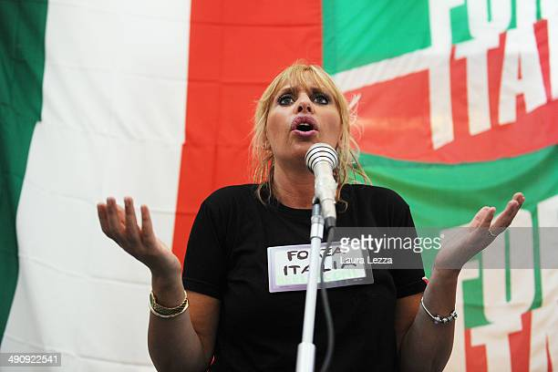 Italian Senator Alessandra Mussolini holds a rally ahead of Election Campaign on May 15 2014 in Livorno Italy Alessandra Mussolini is the...