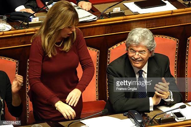 Italian Senator Alessandra Mussolini holds her proBerlusconi speech during the discussion before the votes over Silvio Berlusconi's Parliament...