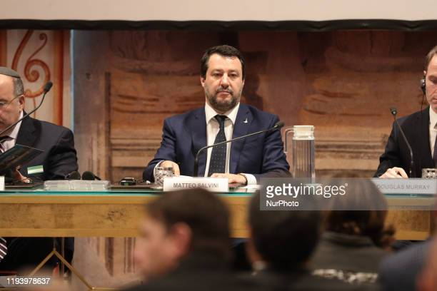 Italian Senator and Lega political party leader Matteo Salvini delivery a speechs during the conference on 'New AntiSemitism Forms' In Sala Zuccari...