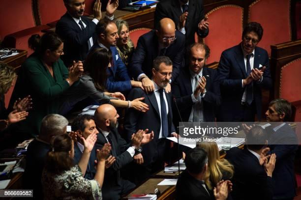 Italian Senator Fabrizio Endizi M5S movement reacts during the final vote on the 'Rosatellum' electionlaw bill on October 26 2017 in Rome Italy The...