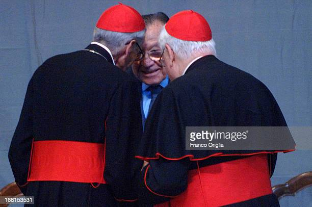 Italian Senator for life Giulio Andreotti chats with former Prefect of the Pontifical House Cardinal Dino Monduzzi and former Archbishop of Boston...