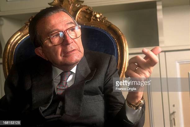 ROME ITALY Italian Senator for life Giulio Andreotti poses for a portrait Session in his private studio at Palazzo Madama in the Italian Senate circa...