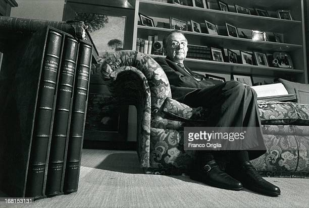Image has been shot in black and white Color version not available Italian Senator for life Giulio Andreotti poses for a portrait Session in his...