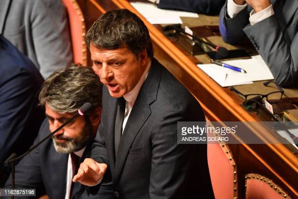 Italian senator for the leftwing party Partito Democratico and former Prime Minister Matteo Renzi delivers a speech at the Italian Senate in Rome on...