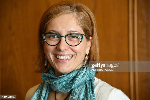 Italian senator Michela Montevecchi of the Five Star Movement, speaks with a journalist during a meeting on April 10, 2014 in Rome. Web-savvy and...