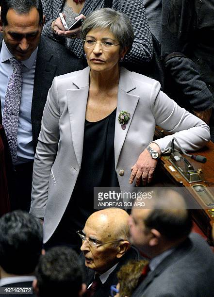 Italian senator of the Democratic Party Anna Finocchiaro stand next to Italy's former President Giorgio Napolitano in the Italian Parliament in Rome...