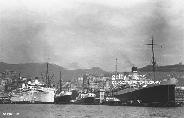 Italian ship the Roma moored in Genoa port ca 1940 Italy 20th century