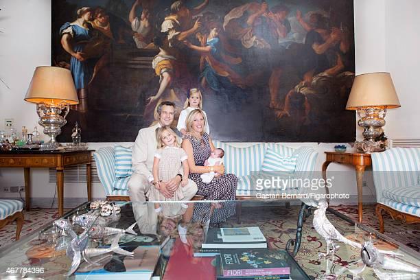Italian shoe designer Alberto Moretti and family wife Vanessa and three daughters Bianca Fiamma and Albertina are photographed for Madame Figaro on...