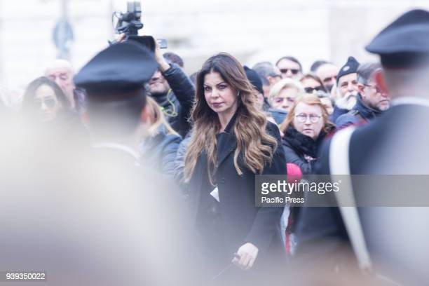 Italian showgirl Alba Parietti during the funeral of the Italian showman Fabrizio Frizzi who died in the night between Sunday and Monday at the...