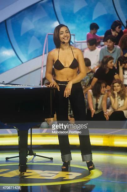 'Italian showgirl and actress Ambra Angiolini at Superclassifica Show studios Italy 1996 '