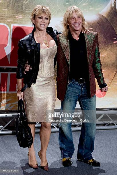 Italian showgirl Carmen Russo and coreographer Enzo Paolo Turchi attends the premiere of the movie Live Free or Die Hard in Rome