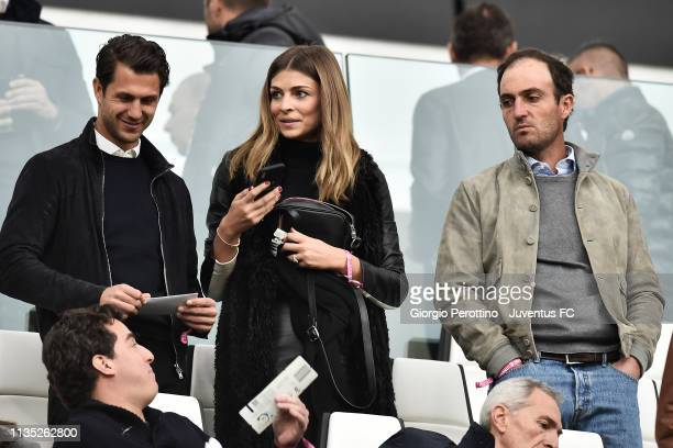 Italian showgirl Cristina Chiabotto and Edoardo Molinari attend the Serie A match between Juventus and AC Milan on April 6 2019 in Turin Italy