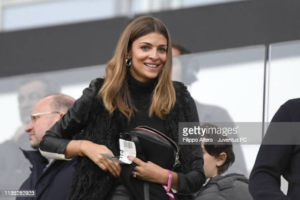 Italian showgirl Cristina Chiabotto attends the Serie A match between Juventus and AC Milan on April 6, 2019 in Turin, Italy.