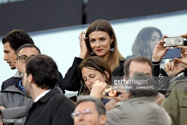 Italian showgirl Cristina Chiabotto during the Serie A match between Juventus and Torino FC on May 3, 2019 in Turin, Italy.