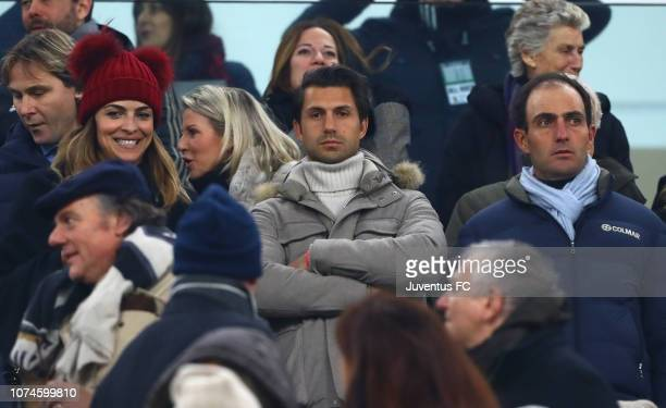 Italian showgirl Cristina Chiabotto with his boyfriend Marco Roscio on grandstand before the Serie A match between Juventus and AS Roma on December...