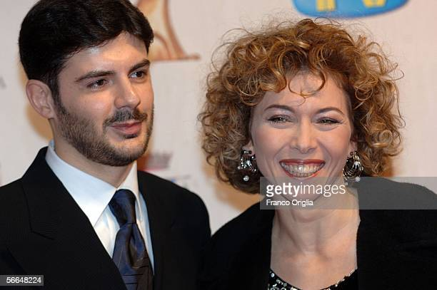 Italian showgirl Irene Pivetti and her husband Alberto Brambilla attend the TV Sport Cinema And Music Italian Awards at the Auditorium on January 22...