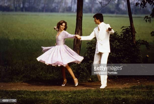 Italian showgirl Loretta Goggi dancing with Italian dancer and choreographer Gianni Brezza in the TV variety show Hello Goggi Italy 1981