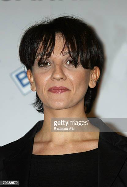 Italian showgirl Lucia Ocone poses after a press conference for the tv show 'Il Dopofestival' at the Teatro Ariston on February 25, 2008 in Sanremo,...