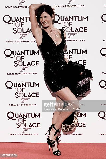 Italian showgirl Pamela Prati attends the premiere of the new James Bond movie 'Quantum of Solace' in Rome