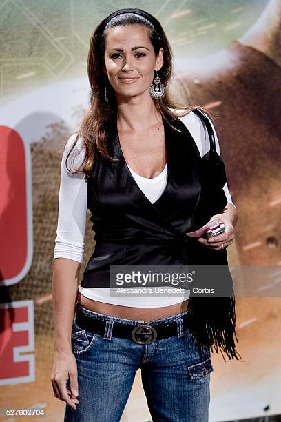 Italian showgirl Samantha De Grenet attends the premiere of the movie Live Free or Die Hard in Rome