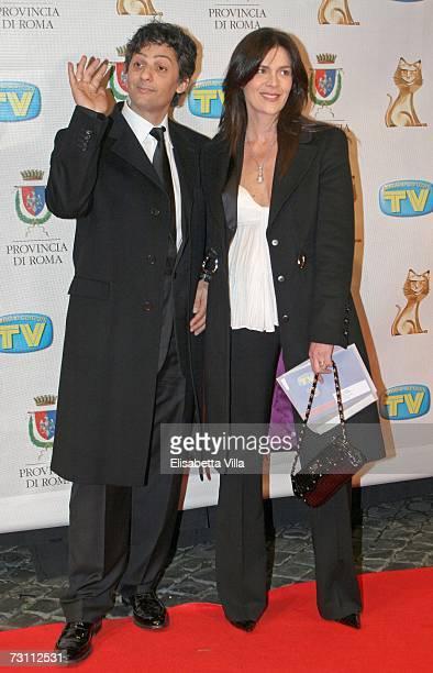 Italian showman Rosario Fiorello and wife Susanna Biondo arrive at the Italian TV Awards ''Telegatti'' at the Auditorium Conciliazione on January 25...