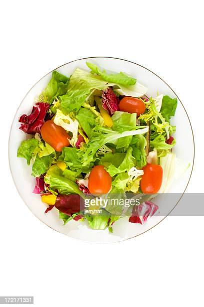 italian side salad plan view no dressing - side salad stock pictures, royalty-free photos & images