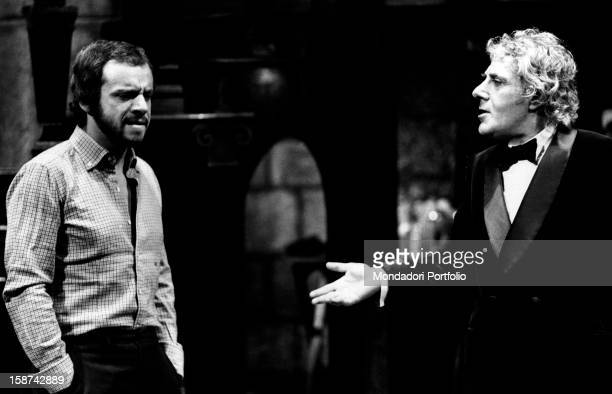 Italian singer actor and showman Johnny Dorelli and Italian actor Gianrico Tedeschi talking during the rehearsals of the comedy Sleuth Padua 1971