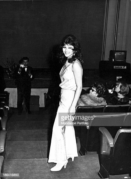Italian singer actress and record producer Claudia Mori taking part in the 16th Sanremo Music Festival Sanremo 1966