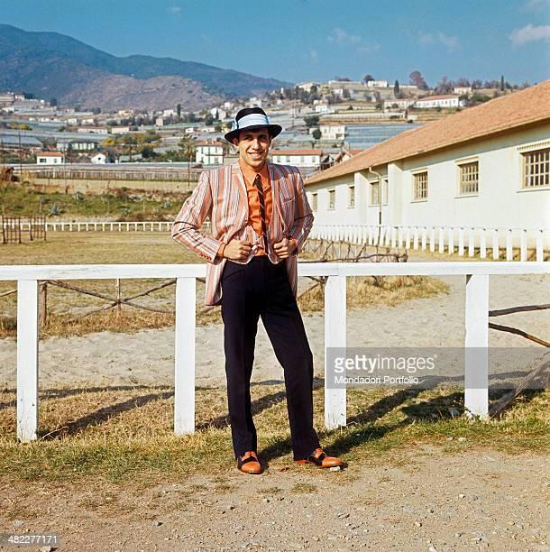 Italian singer Adriano Celentano posing smiling at the 18th Sanremo Music Festival Sanremo February 1968