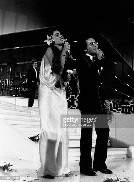 Italian singer Al Bano and his wife Americanborn Italian singer Romina Power singing Ci sarà the song with which they won the 34th Sanremo Music...