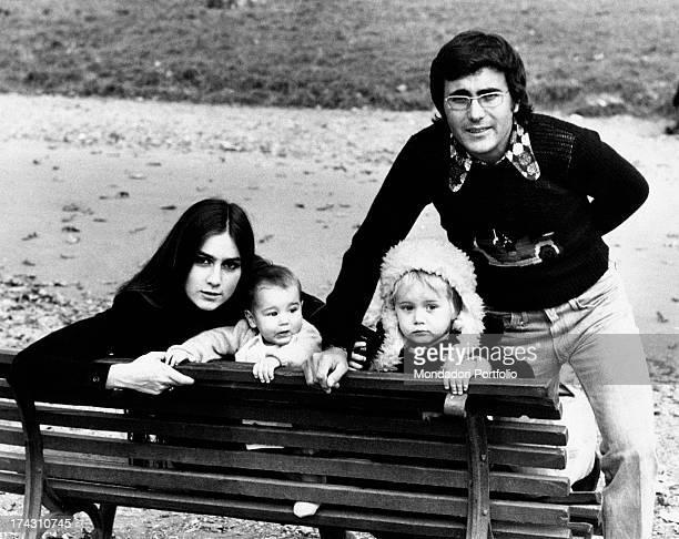 Italian singer Al Bano and his wife Americanborn Italian singer Romina Power posing with their children Ylenia Carrisi and Yari Carrisi Rome 1970s