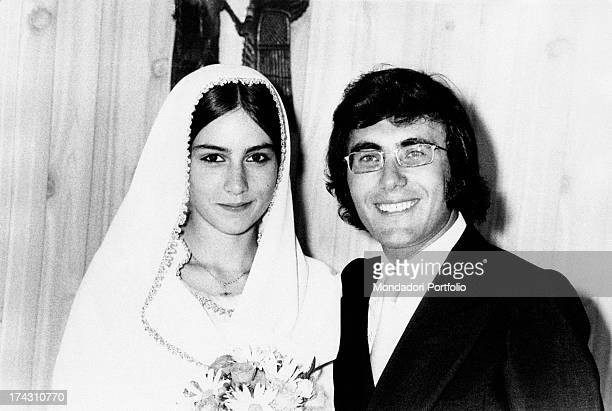 Italian singer Al Bano andi his wife Americanborn Italian singer Romina Power smiling on the day of their wedding Cellino San Marco 26th July 1970