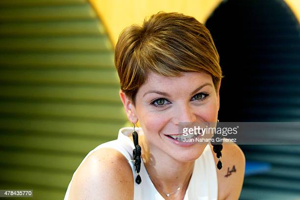 Italian singer Alessandra Amoroso poses before her showcase at Sony Music office on June 24 2015 in Madrid Spain