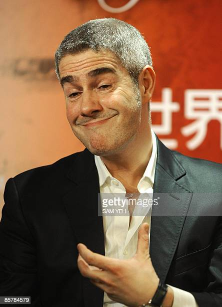 Italian singer Alessandro Safina reacts during a press conference in Taipei on April 3 2009 Safina will take part in British singer Sarah Brightman's...