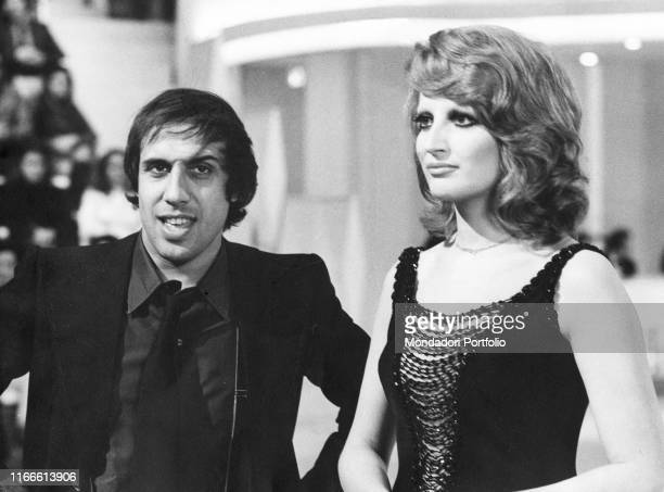 Italian singer and actor Adriano Celentano and Italian singer Mina during the television variety Teatro 10 Rome Teatro delle Vittorie May 7th 1972
