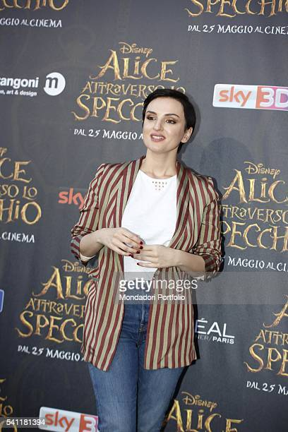 Italian singer and actress Arisa posing on the red carpet at the national premiere of the film 'Alice Through the Looking Glass' staged at Palazzo...