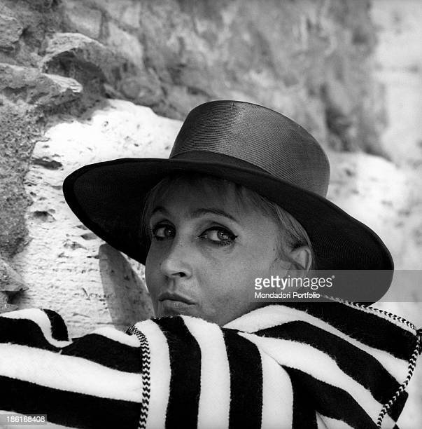 Italian singer and actress Laura Betti wearing a broadbrimmed hat Rome September 1968