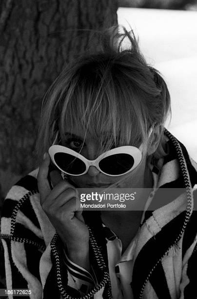 Italian singer and actress Laura Betti wearing sunglasses Rome September 1968