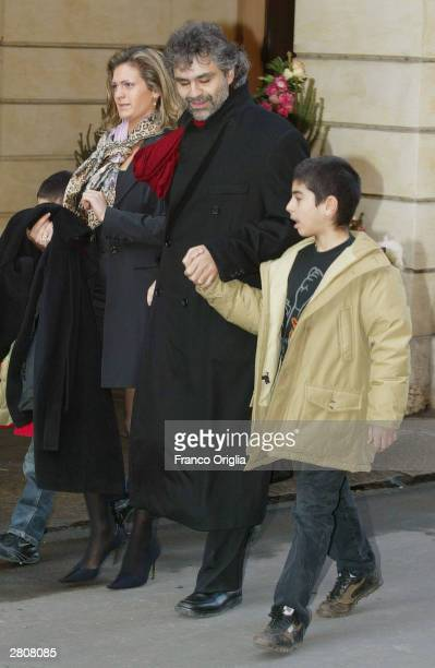 Italian singer and tenor Andrea Bocelli with his family arrive at the Teatro Comunale for the wedding of Luciano Pavarotti and Nicoletta Mantovani...