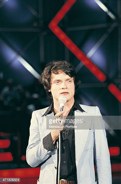 Italian singer and theatre actor Massimo Ranieri singing Italy 1975